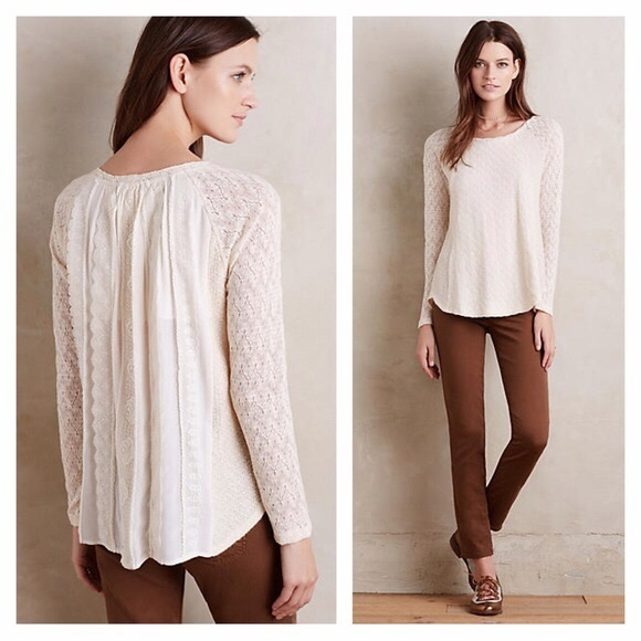 Anthropologie Tops - Anthro | One September Feathered Lace Pullover Top